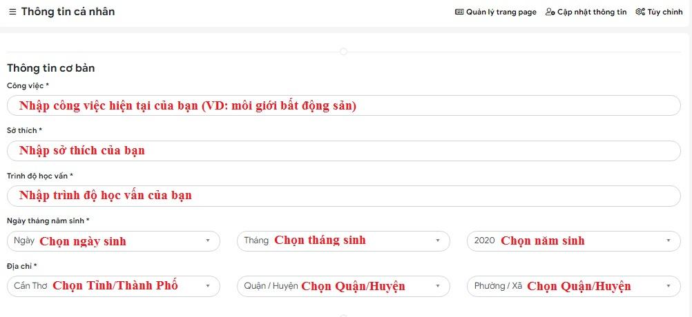Huong dan cap nhat thong tin ca nhan tren website tuongtaccongdong.com 2