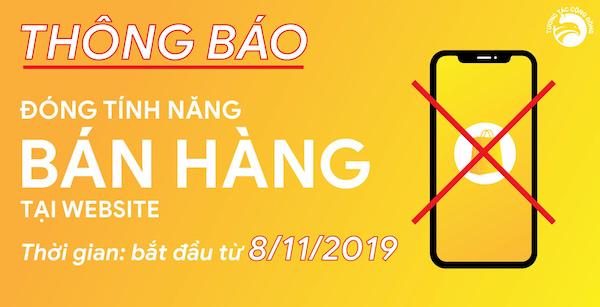 Thong bao dong tinh nang Ban Hang tai Website Tuongtaccongdong.com
