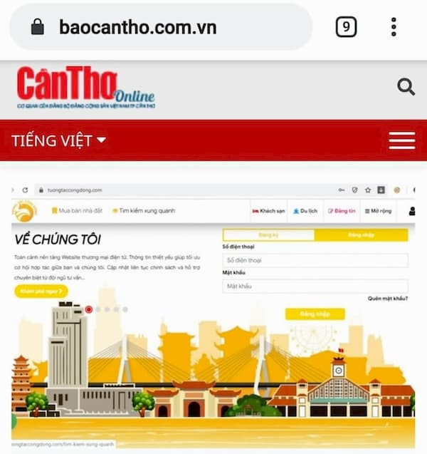Hinh anh website tuongtaccongdong.com tren bao Can Tho Online